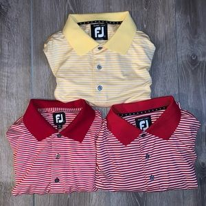 Lot of 3 FootJoy Striped Golf Polo Shirts Large